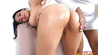 Wet young Latina cunt rides black dick