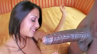 Lyla Storm is a brave slut that gets her hole filled with big sized black dick. She gags on his black massive dick and then takes it in her flexible pussy. He stretches her white pussy doggy style