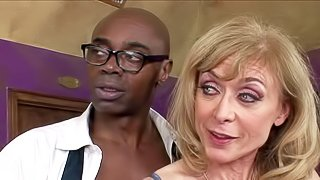 Sex obsessed mature woman Nina Hartley in stockings gets her ass tongue fucked by her white husband before she takes big black dick in front of him. Wet pussy lady sucks heavy chocolate dick just like crazy