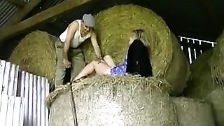 Blonde Girl And A Farmer Fuckng In A Barn