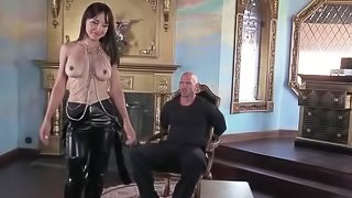 Bald man is fucking slutty brunette