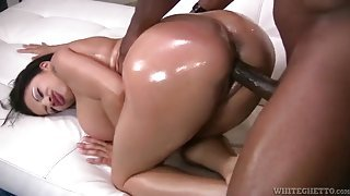 Curvy lubed up babe fucked by a big black dick