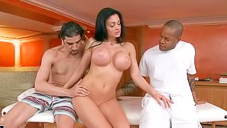 Smoking hot brunette Aletta Ocean with huge melons gets shared by black and white guys in the sauna. She gives blowjob and then gets fucked from behind. Busty Aletta Ocean is fuck hungry!