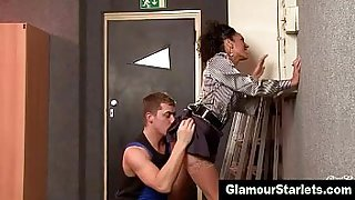 Glamorous brunette bitch fucks and blows labourers cock