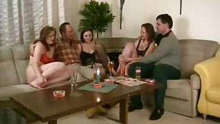 Hot swinger party with three milfs and two dudes
