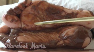 Barbara Barefoot tickle my sole and toes with chocolate