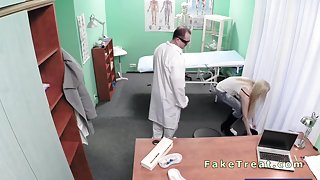 Petite blonde fucked by doctor in an office