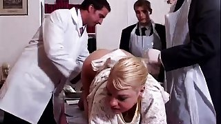 Doctor and medicine students examine a blonde hotties pussy