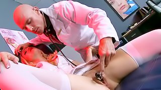 Horny doctor examines his patient