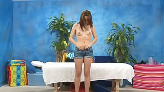 Brunette cutie next door Jaslene strips down to her pink panties to enjoy massage. Sweet kitty with tiny tits removes her black bra and blue jean shorts