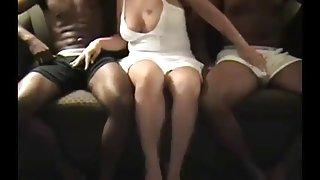 Horny Busty Wife and two Black studs