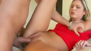 Blonde in red Nadia Noir gives pleasurable blowjob to lucky man before he puts his cock in her love box. She enjoys his sausage in her mouth and pussy. Shes a horny chick!