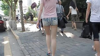 Street candid teen ass wrapped in tiny jeans shorts